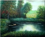 Jumping Wild Pig Oil Painting Landscape River Classic 20 x 24 inches