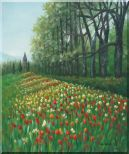 Gorgeous Colorful Flowery Fields in Spring Oil Painting Landscape Tulip Impressionism 24 x 20 inches