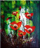 Magnificent Red Flowers Sing in Green Oil Painting Impressionism 24 x 20 inches