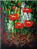 Magnificent Red Flowers Sing in Green Oil Painting Decorative 48 x 36 inches