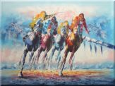 Spur on Galloping Horses in Racing Oil Painting Portraits Animal Modern 36 x 48 inches