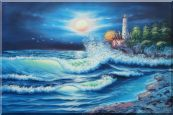 Lighthouse, FLying Birds Under The Moonlight Oil Painting Seascape Naturalism 24 x 36 inches