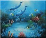 Magical Underwater Sea World Oil Painting Animal Marine Life Dolphin Fish Naturalism 20 x 24 inches