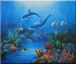 The Wonderful Sea World Oil Painting Animal Marine Life Dolphin Fish Naturalism 20 x 24 inches