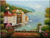 Beach House with Flower Patio Oil Painting Mediterranean Naturalism 36 x 48 inches