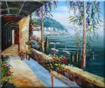 Scenic View of Mediterranean Floral Patio Oil Painting Naturalism 20 x 24 inches