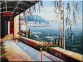 Scenic View of Mediterranean Floral Patio Oil Painting Naturalism 36 x 48 inches