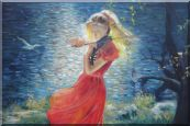 Young Girl with Long Red Skirt Plays Violin Oil Painting Portraits Woman Musician Impressionism 24 x 36 inches