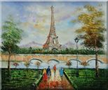 Figures, Eiffel Tower, and The Seine River at Spring Oil Painting Cityscape France Impressionism 20 x 24 inches