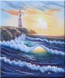 Lighthouse, Sea Waves, Cliffs, Seagulls at  Sunset Oil Painting  24 x 20 inches