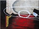 Abstract White Lines On Red and Light Setting Oil Painting Nonobjective Decorative 36 x 48 inches