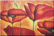 Fire Red Flowers In Yellow And Red Background Oil Painting