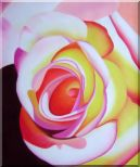 Fresh Blooming Pink Rose Painting Oil Flower Naturalism 24 x 20 inches