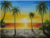 Seashore Palm Trees on Sunset Oil Painting Seascape America Naturalism 36 x 48 inches