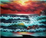 Flying Seagulls Over Sea Waves On Sunset Oil Painting Seascape Naturalism 20 x 24 inches