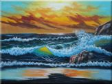 Flying Seagulls Over Sea Waves On Sunset Oil Painting Seascape Naturalism 36 x 48 inches