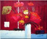 Red Anemone Flowers in White Vase Abstract Oil Painting Modern 20 x 24 inches
