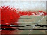 Red, White and Black Abstract Oil Painting Nonobjective Decorative 36 x 48 inches