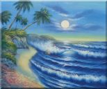 Evening Blue Ocean Wave with Palm Trees Oil Painting Seascape America Naturalism 20 x 24 inches