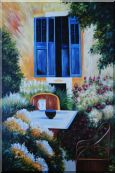 A Charming Backyard Oil Painting Garden Italy Impressionism 72 x 48 inches