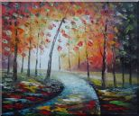Tranquillity Trail in Autumn Forest Oil Painting Landscape Tree Modern 20 x 24 inches