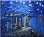 Starry Night Over the Rhone, Van Gogh replica Oil Painting Landscape River France Post Impressionism 20 x 24 inches