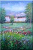 Flowering Meadow around Village Oil Painting Landscape Field Naturalism 36 x 24 inches