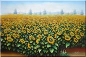 Beautiful Yellow Sunflower Field Oil Painting Landscape Naturalism 24 x 36 inches