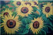 Large Sunflower Heads Oil Painting Landscape Field Naturalism 24 x 36 inches