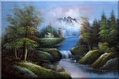 Rural Landscape in Early Spring Oil Painting River Naturalism 24 x 36 inches