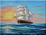 Old Sailing Ship Racing the Sunrise Oil Painting Boat Classic 36 x 48 inches