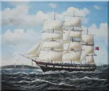 Vintage Sailing Ship Oil Painting Boat Classic 20 x 24 inches