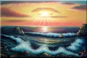 Ocean Sunset Sea Waves Oil Painting Seascape Naturalism 24 x 36 inches
