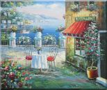 Beach Sidewalk Restaurant Oil Painting Mediterranean Naturalism 20 x 24 inches
