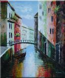 Summer Small Boat Across Bridge in Venice Water Canal Oil Painting Italy Naturalism 24 x 20 inches