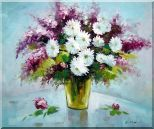 Purple and White Mum and Purple Stock Flowers in Vase Oil Painting Still Life Bouquet Impressionism 20 x 24 inches