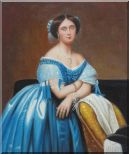 A Sitting Noble Lady In Blue Satin And Sumptuous Jewels Oil Painting Portraits Woman Classic 24 x 20 inches