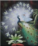 White Peacock Show Feathers to Green Peacock Oil Painting Animal Naturalism 24 x 20 inches