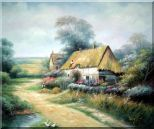Cottage In Cornfield Oil Painting Village Classic 20 x 24 inches