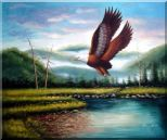 American Eagle Soaring Across the Lake Oil Painting Animal Naturalism 20 x 24 inches