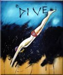 Diving, Modern Pop Art Oil Painting Portraits 24 x 20 inches