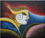 Girl Face in Wind Oil Painting Portraits Woman Modern Cubism 20 x 24 inches