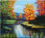 Colorful Trees Along the River Oil Painting Landscape Impressionism 20 x 24 inches