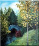 River Bridge under Aspen Trees Oil Painting Garden Impressionism 24 x 20 inches