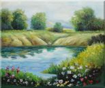 Beautiful Landscape with Flowers, and Meadow Along Pond Oil Painting River Impressionism 20 x 24 inches