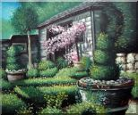 Joyful Backyard Garden Oil Painting Naturalism 20 x 24 inches