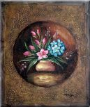 Modern Pink and Blue Flowers Painting Oil Still Life Decorative 24 x 20 inches