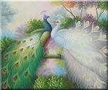Blue and White Peacocks on Tree Branch Oil Painting Animal Naturalism 20 x 24 inches