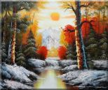 Golden Sunset Over Snow Covered Mountain and River Oil Painting Landscape Naturalism 20 x 24 inches