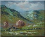 Shabby Farmhouse At the Foot of the Hill Oil Painting Landscape Impressionism 20 x 24 inches